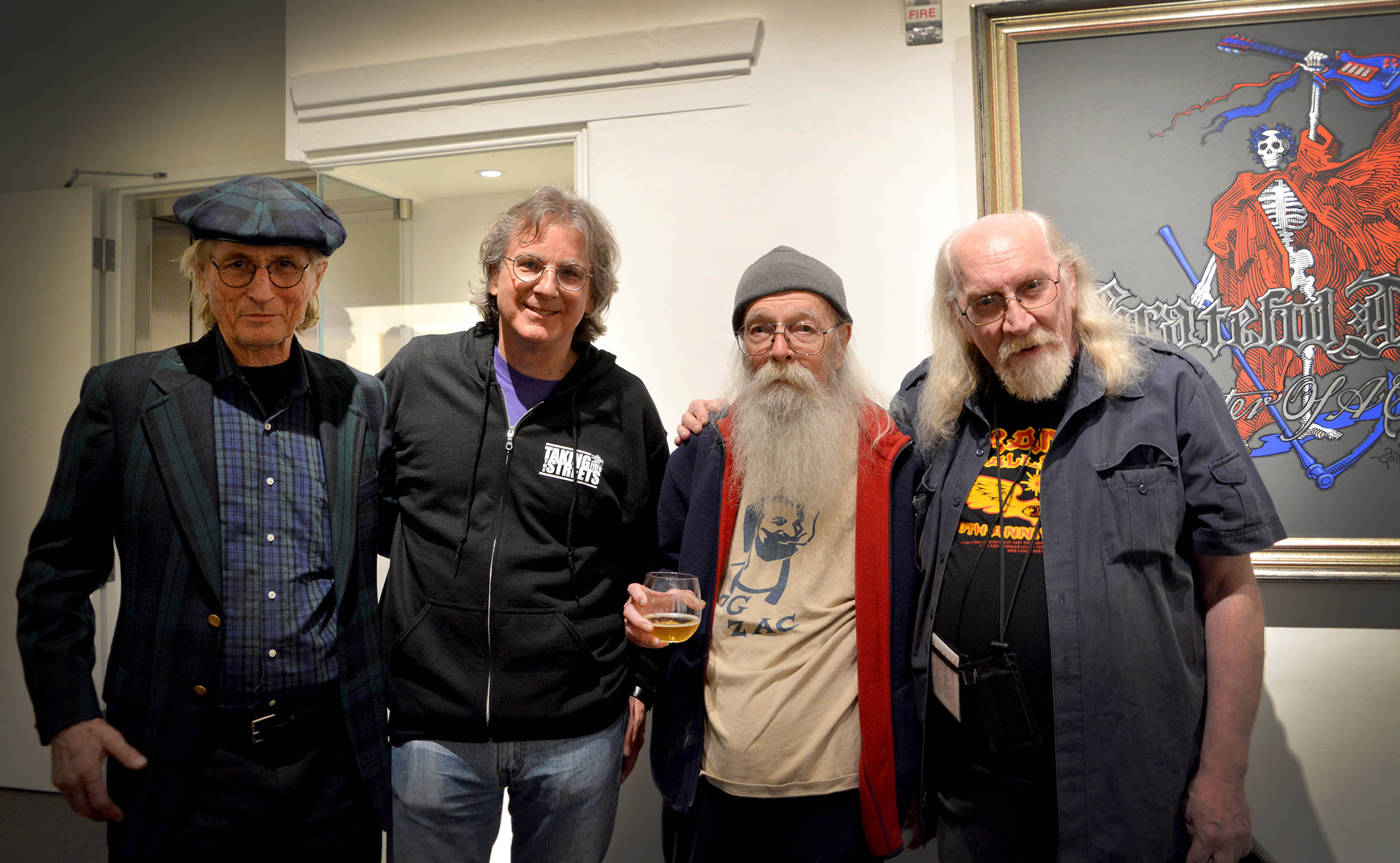 Celebrating Grand Opening of  Haight Street Art Center, SF. George Hunter, Roger McNamee, Bill Ham, and Dennis Loren. photo by emi