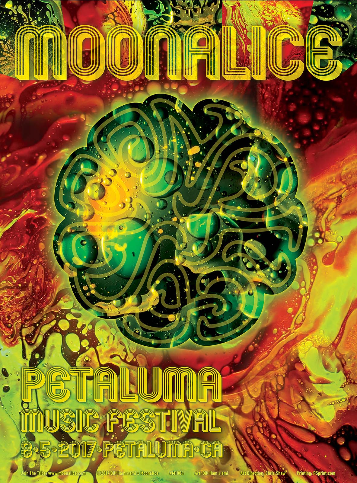 Moonalice poster for Petaluma Music Festival 2017.  Light painting by Bill Ham, photo and poster design by emi
