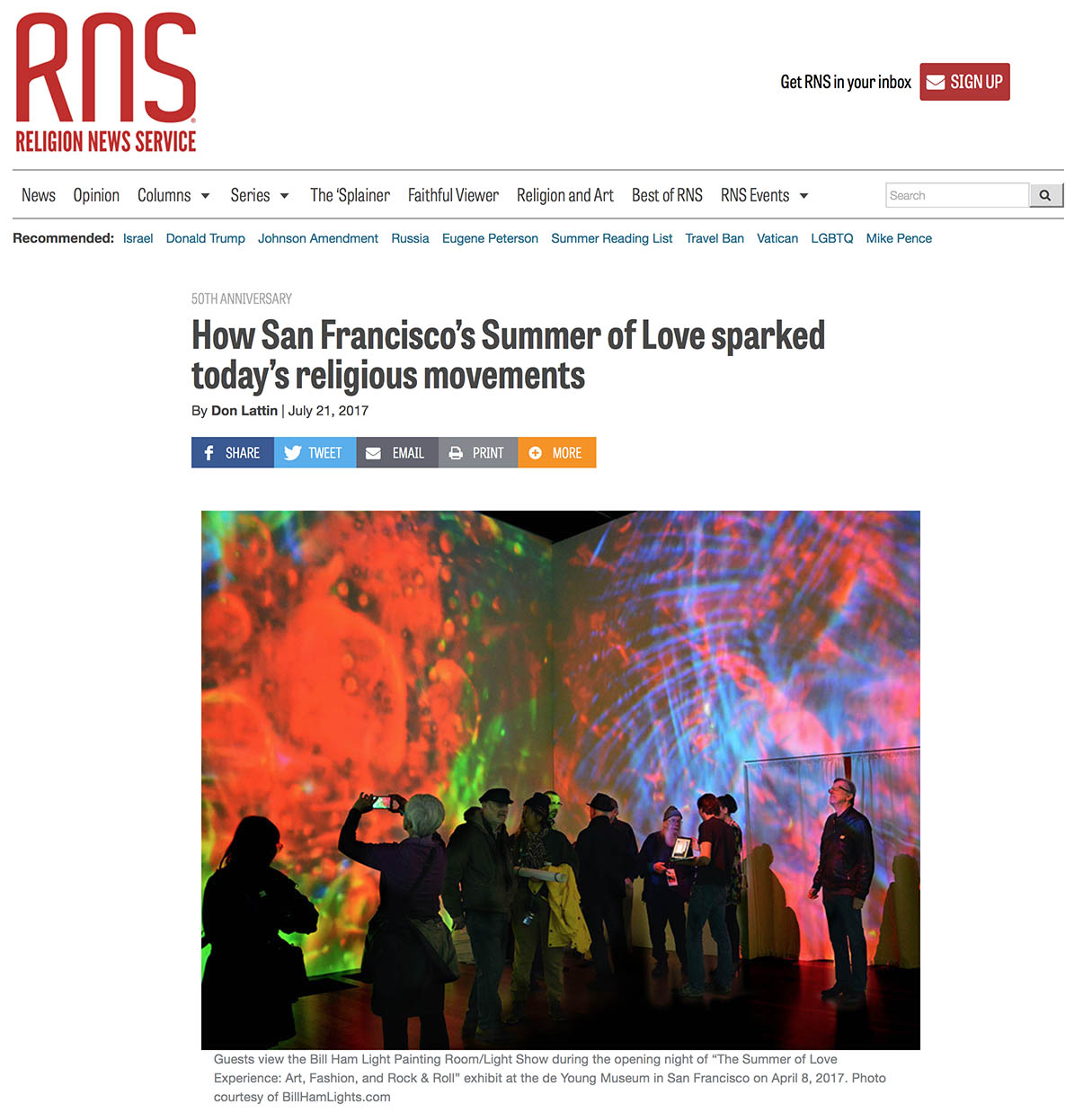 How San Francisco's Summer of Love sparked today's religious movements By Don Latti, religionnews.com, Bill Ham interviewed
